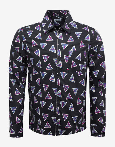 Kenzo Black Bermuda Triangle Print Zip Shirt