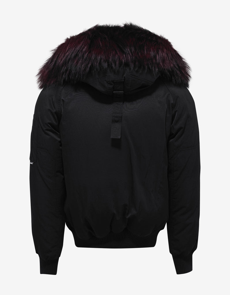 Black Bomber Jacket with Red Fur Trim