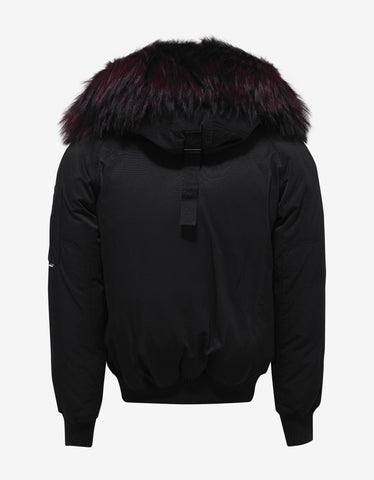 Kenzo Black Bomber Jacket with Red Fur Trim