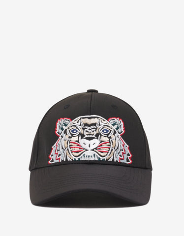 Black Contrast Tiger Embroidery Cap