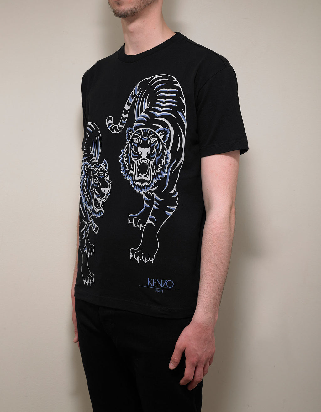 Black Double Tiger Print T-Shirt