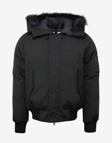 Kenzo Black Fur Trim Short Down Parka
