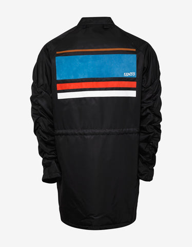 Kenzo Black Long Bomber Jacket with Leather Appliques
