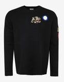 Black Multi Icons Badges Sweater