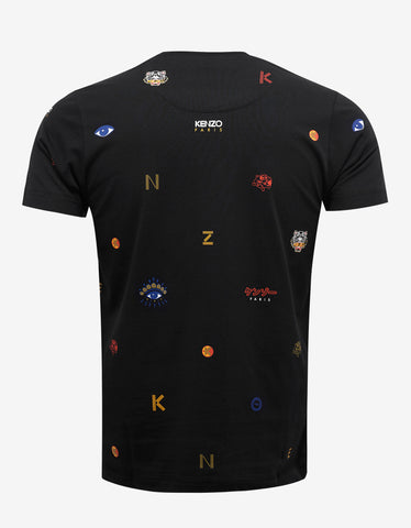 Kenzo Black Multi Icons Print T-Shirt