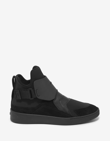 Kenzo Black Neoprene & Leather High Top Trainers