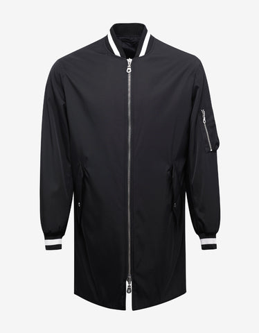 Kenzo Black Signature Long Bomber Jacket