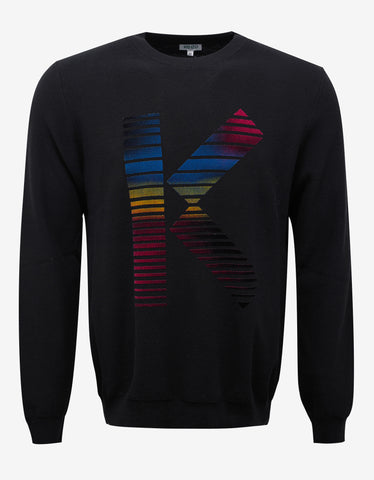 Kenzo Black Sweater with Multicolour 'K' Logo