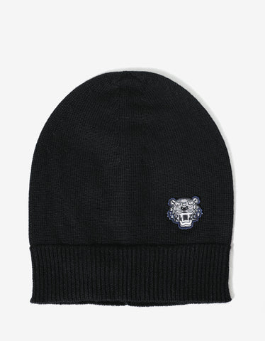 Kenzo Black Tiger Head Beanie Hat