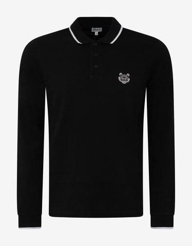 Kenzo Black Tiger Logo Long Sleeve Polo T-Shirt