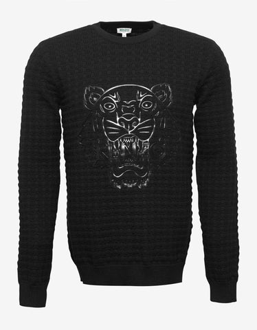 Kenzo Black Tiger Print Wool Sweater