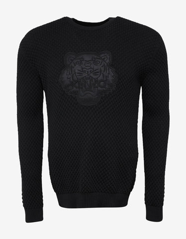 Kenzo Black Tonal Tiger Embroidery Sweater