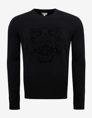 Kenzo Black Velvet Flocked Tiger Wool Sweater