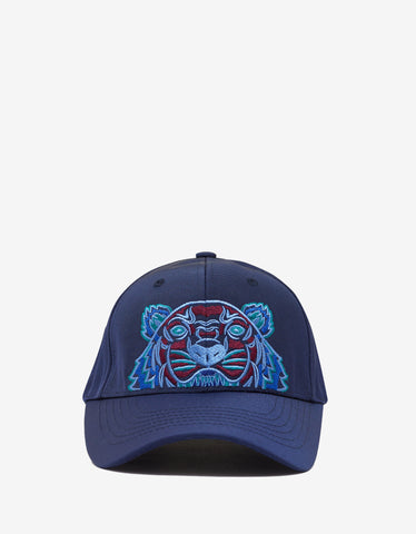 Blue Contrast Tiger Embroidery Cap