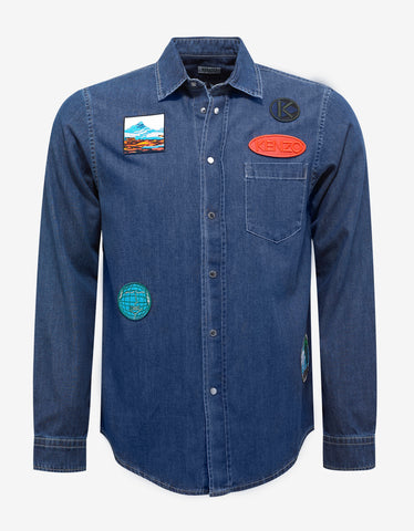 Kenzo Blue Denim Shirt with Patches
