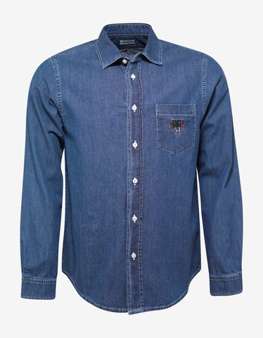 Kenzo Blue Denim Tiger Embroidery Shirt