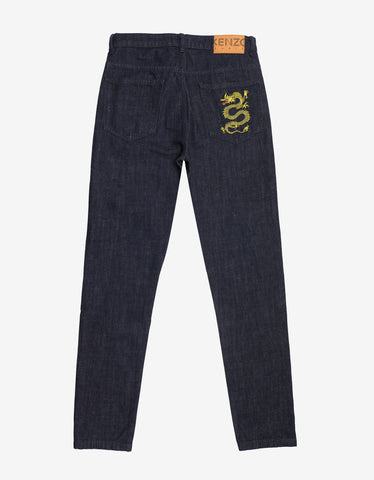 Kenzo Blue Dragon Embroidery Jeans