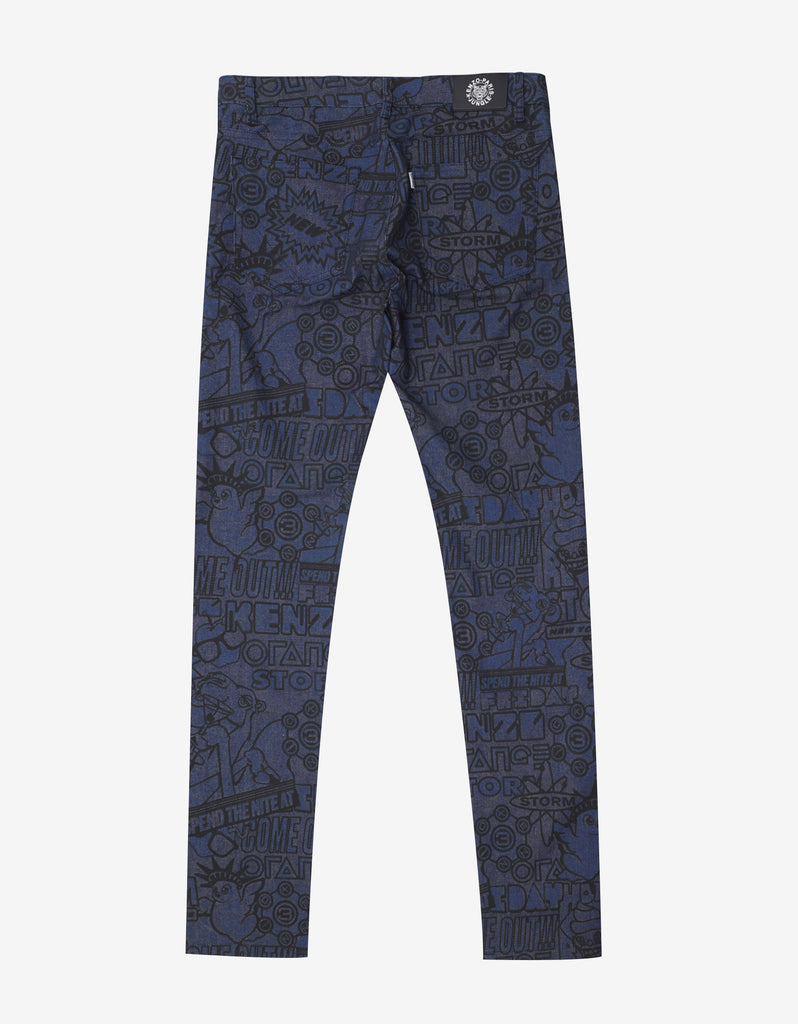 Blue Flyers Print Skinny Jeans