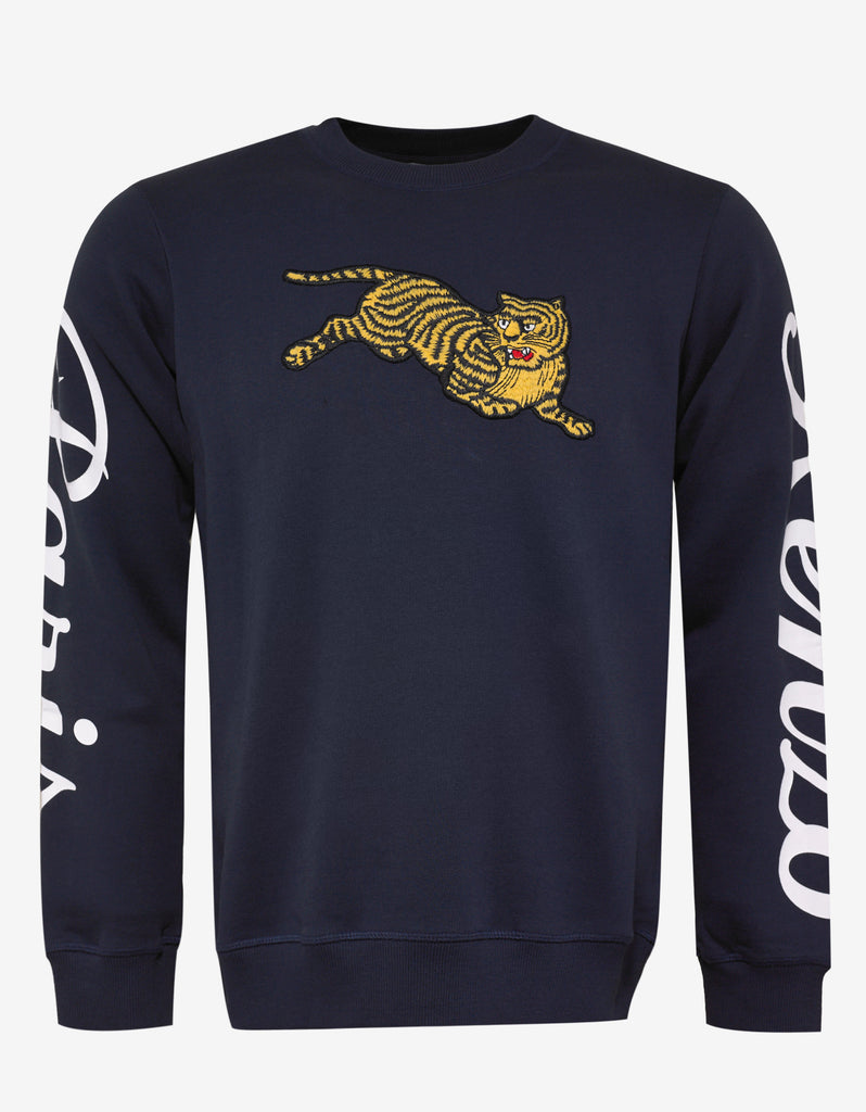 Blue Jumping Tiger Badge Sweatshirt