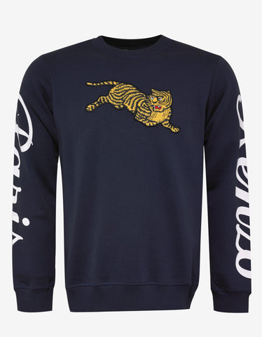 Kenzo Blue Jumping Tiger Badge Sweatshirt