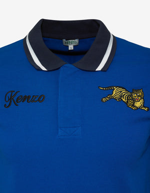 Blue Jumping Tiger Polo T-Shirt