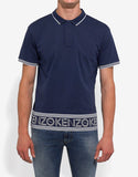 Blue Logo Print Polo T-Shirt