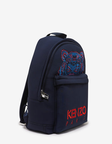 Kenzo Blue Neoprene Tiger Backpack