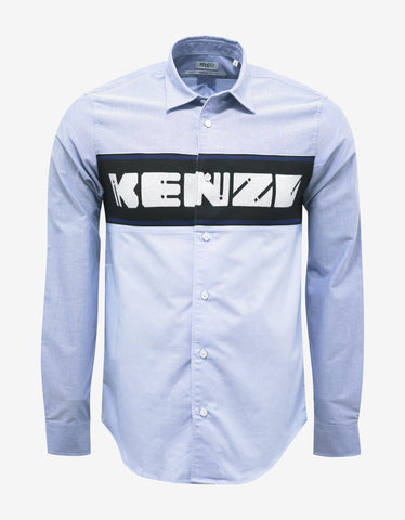 Kenzo Blue Shirt with Knitted Logo Insert