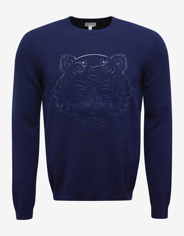 Kenzo Blue Silicon Tiger Sweater
