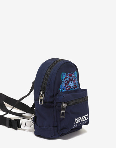 Kenzo Blue Tiger Canvas Mini Backpack