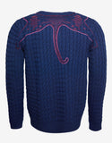 Blue Tiger Embroidery Wool Blend Sweater