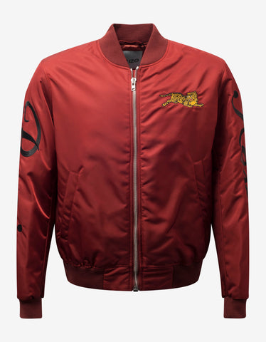 Red Wool Baseball Jacket with Patches