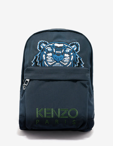 Kenzo Dark Grey Tiger Canvas Large Backpack