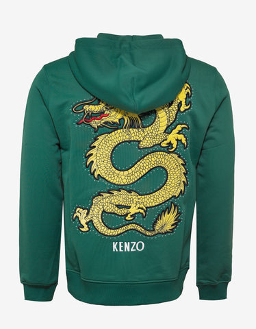 Kenzo Green Dragon Embroidered Hoodie