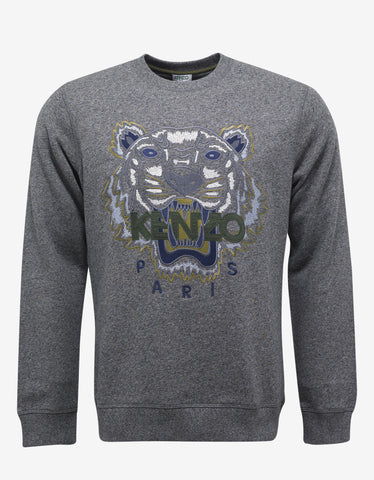 Kenzo Grey Marl Tiger Graphic Sweatshirt