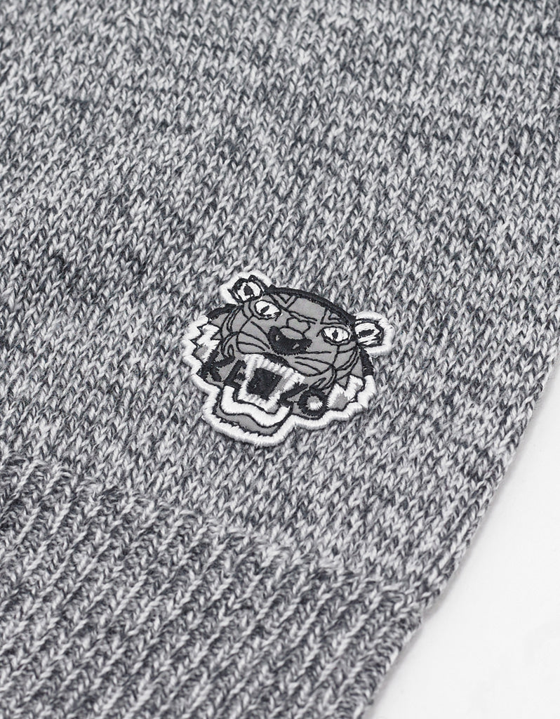Grey Marl Tiger Head Beanie Hat