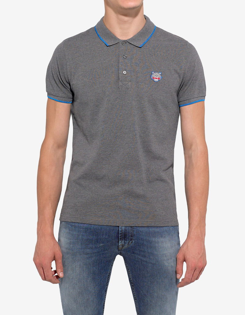 Grey Tiger Head Polo T-Shirt