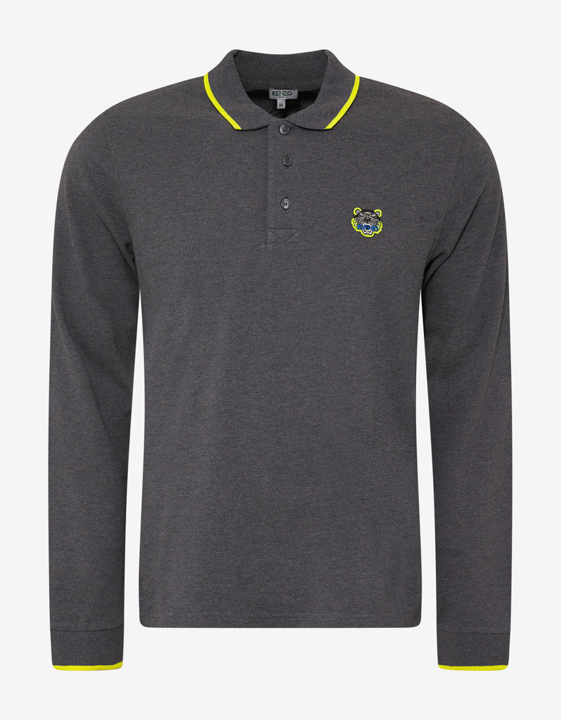 Grey Tiger Logo Long Sleeve Polo T-Shirt
