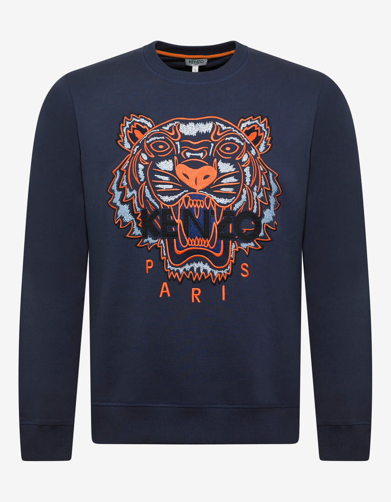 Ink Blue Tiger Embroidery Sweatshirt