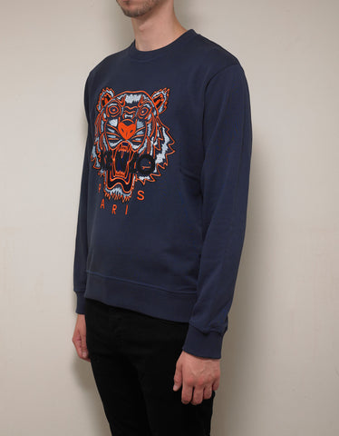 Kenzo Ink Blue Tiger Embroidery Sweatshirt