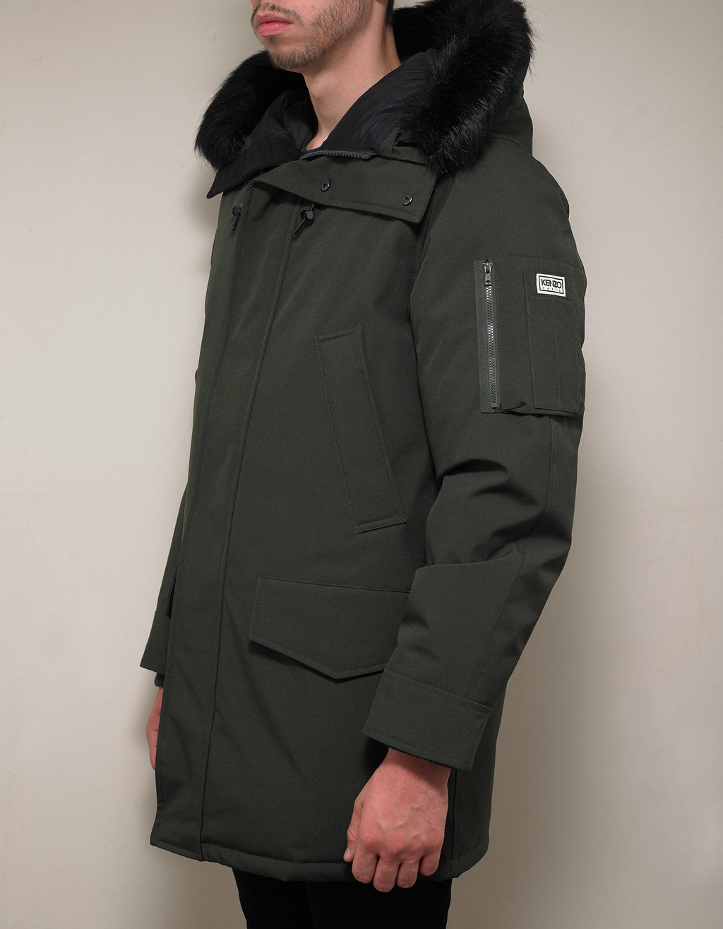Khaki Long Down Parka Jacket