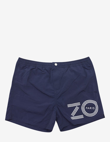 Kenzo Navy Blue Mid-Length Logo Print Swim Shorts