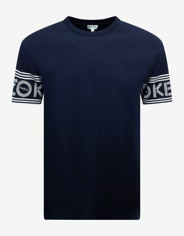 Metallic Blue Polo T-Shirt with Grosgrain Collar