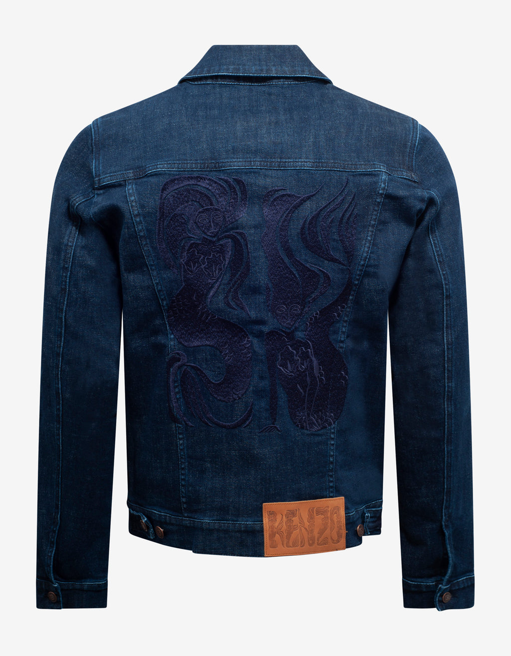 Navy Blue Mermaids Embroidery Denim Jacket
