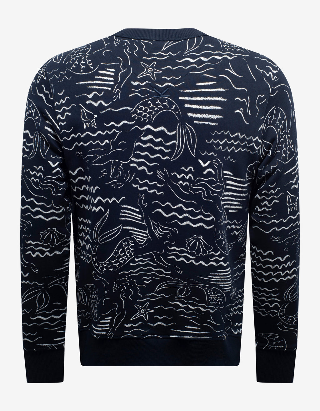 Navy Blue Mermaids Print Logo Sweatshirt