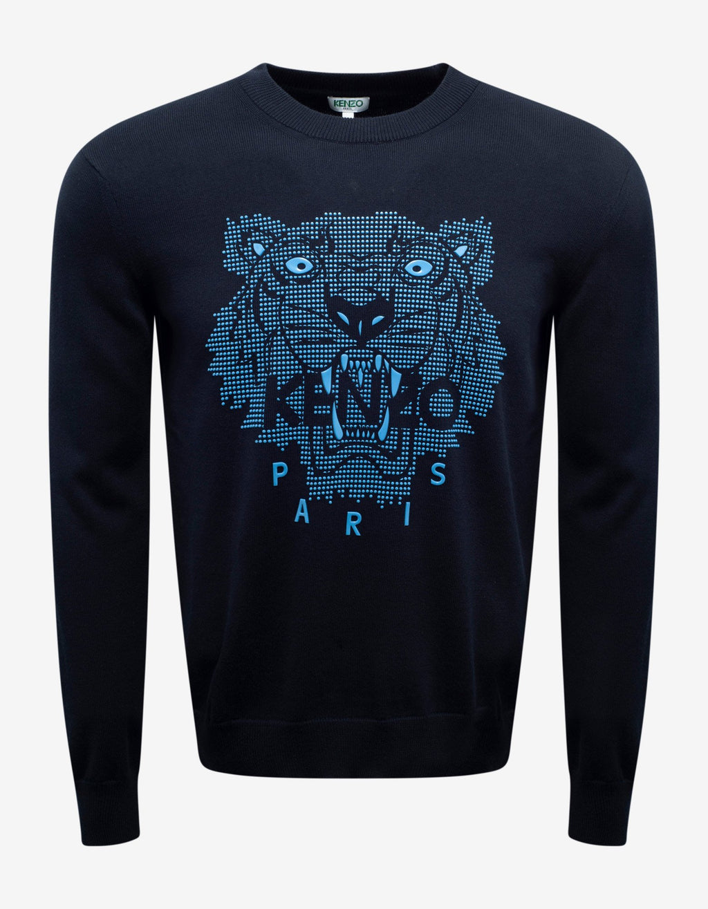 Navy Blue Rubber Tiger Head Sweater -