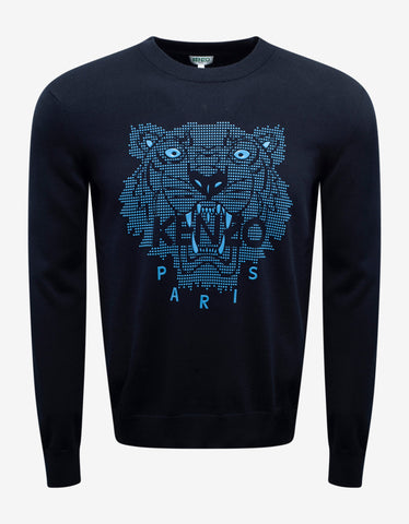 Kenzo Navy Blue Rubber Tiger Head Sweater