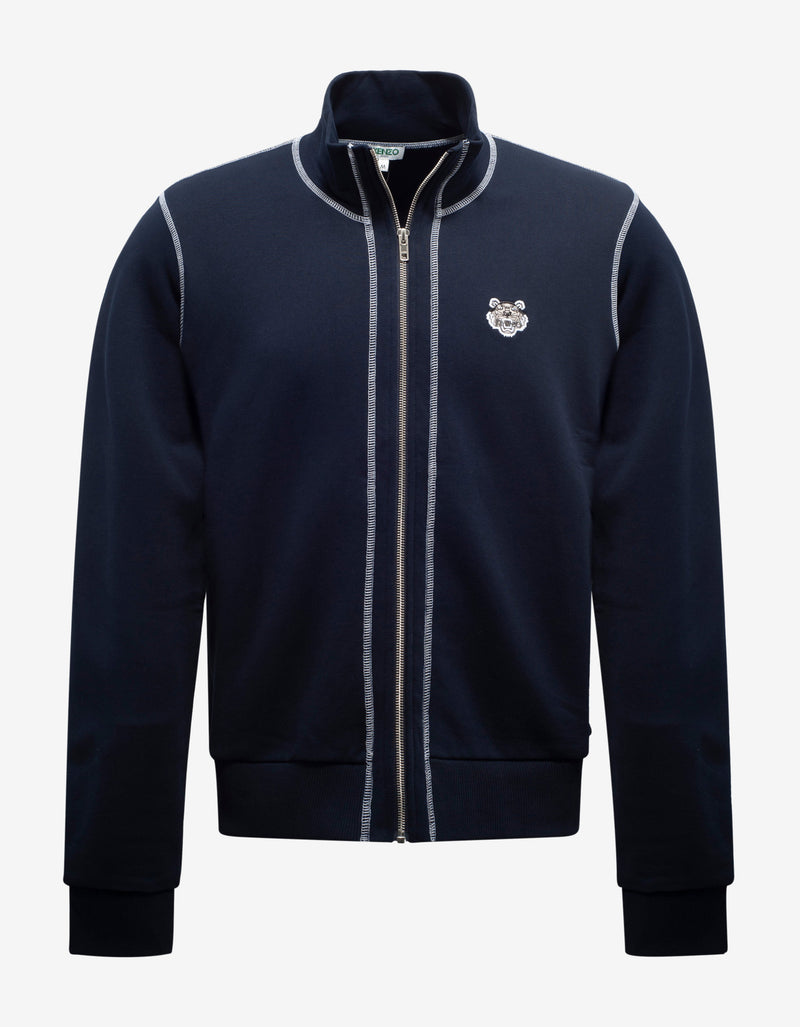 Navy Blue Tiger Crest Zip Track Jacket