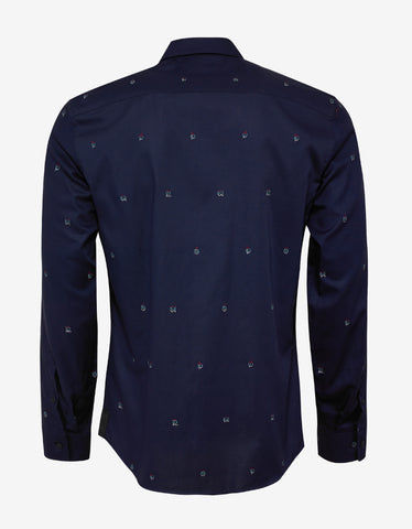 Kenzo Navy Blue YMO Embroidery Shirt