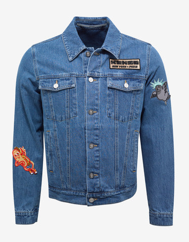 Kenzo Blue Denim Jacket with Badges